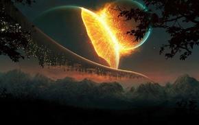 nature, fantasy art, planet, lights, science fiction, explosion
