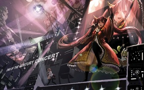 stages, microphones, Hatsune Miku, night, anime, Vocaloid