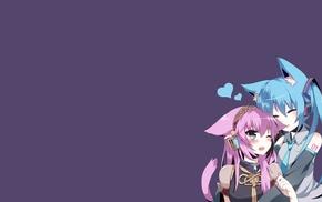 Megurine Luka, Hatsune Miku, anime, anime girls, blushing, Vocaloid