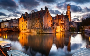 cityscape, evening, city, house, Belgium, river