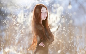 black dress, blue eyes, model, girl, girl outdoors, freckles
