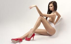 boobs, high heels, stiletto, bare shoulders, girl, long hair
