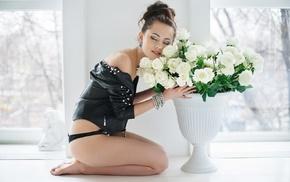 smiling, brunette, rose, lingerie, closed eyes, Maxim Maksimov