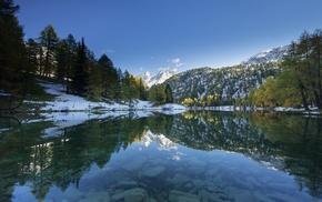 snowy peak, reflection, snow, water, lake, trees
