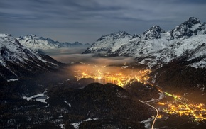 valley, landscape, mist, lights, mountain, cityscape