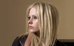 girl, face, smoky eyes, blonde, Avril Lavigne, looking away