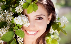 smiling, cherry blossom, cherry trees, flowers, hazel eyes, nature