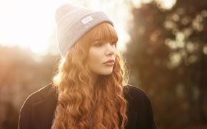 portrait, face, Julia Coldfront, girl, redhead