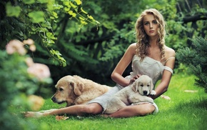 curly hair, white dress, girl outdoors, nature, puppies, dress