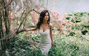 girl, long hair, blue eyes, Aurela Skandaj, white dress, brunette