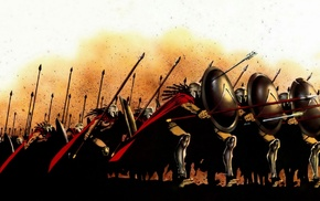 men, Spartans, render, shields, 300, history