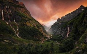 valley, river, sunset, waterfall, canyon, France