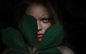 leaves, face, portrait, girl, juicy lips
