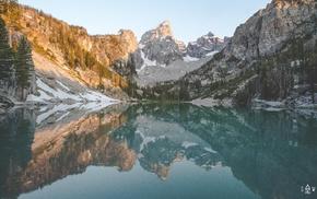 water, trees, lake, reflection, mountain, snowy peak