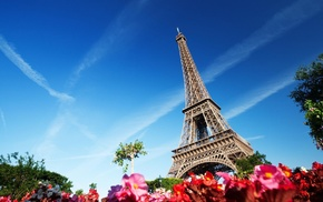 architecture, France, Paris, flowers, Eiffel Tower, building