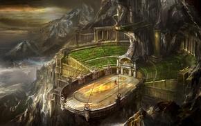 ropes, snowy peak, God of War, arena, mountain, digital art