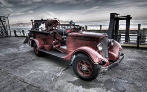 old car, fire fighter, car