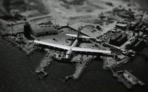 airplane, aircraft, monochrome, Hughes HK, 1 Hercules, tilt shift
