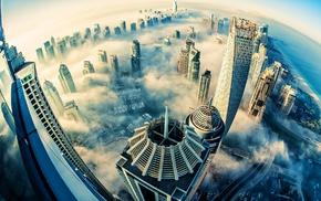 cityscape, skyscraper, fisheye lens, aerial view, Dubai, mist