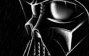 wet, black, movies, Darth Vader, rain