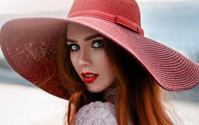 portrait, rear view, redhead, red lipstick, blue eyes, girl