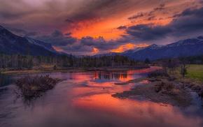 nature, landscape, sunrise, clouds, snowy peak, forest