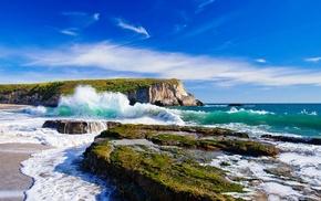 beach, rock, sea, cliff, nature, waves