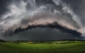 thunder, hill, field, landscape, tornado, storm