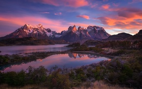 clouds, Patagonia, shrubs, Torres del Paine, lake, snowy peak