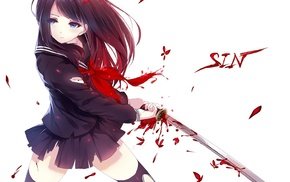 ribbon, ripped clothes, thigh, highs, blue eyes, katana