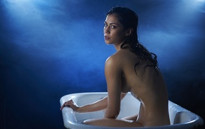 girl, model, bathtub