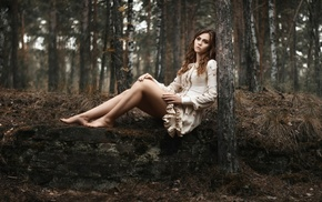 nature, looking away, girl outdoors, model, forest, long hair