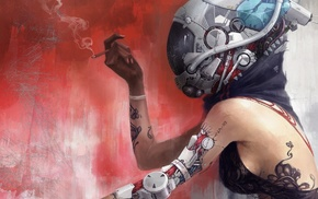 smoke, pipes, bionics, technology, life, bare shoulders