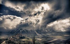 landscape, villages, field, snowy peak, Italy, Alps