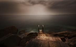 horizon, nature, clouds, mist, rock, walkway