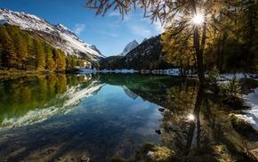 nature, water, snowy peak, mountain, lake, landscape