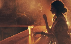 sepia, girl, bars, smoking