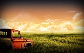 landscape, green, sky, clouds, moon, grass