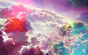 fantasy art, artwork, clouds, horizon, digital art