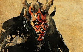 horns, artwork, Star Wars, movies, Darth Maul