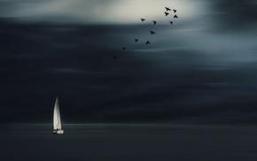 horizon, birds, nature, minimalism, clouds, sailing ship