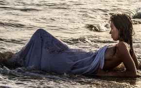 waves, wet hair, girl outdoors, water, sea, girl