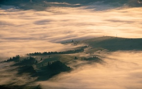 nature, field, Carpathians, mist, hill, aerial view