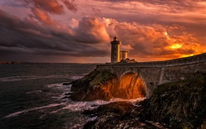 sunset, clouds, bridge, nature, rock, France
