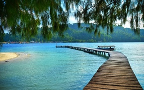 dock, hill, tropical, trees, island, boat