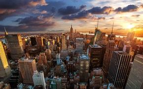 USA, sunset, building, New York City, landscape, cityscape