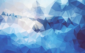 geometry, blue, abstract, digital art, low poly, artwork