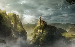 landscape, clouds, temple, photography, fall, mountain