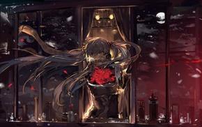 Hatsune Miku, night, twintails, anime, headphones, long hair