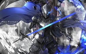 sword, original characters, knight, cape, anime, Pixiv Fantasia Fallen Kings